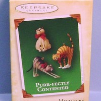 2004 Purr-fectly Contented Hallmark Retired Miniature Ornaments