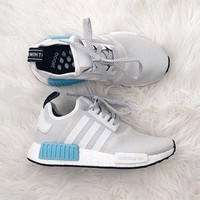 ADIDAS Women Running Sport Casual NMD Shoes Sneakers Blue-White