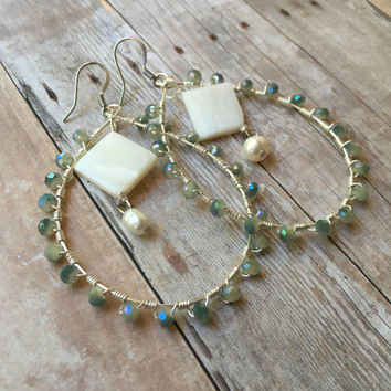 Wire Wrapped Hoop Earrings Crystal Beaded Hoop Earrings Mother of Pearl Hoop Earrings Hoop Statement Earrings Hoop Dangle Earrings (E326)