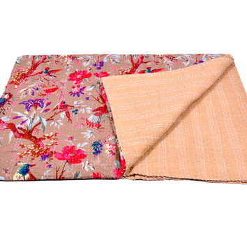 Indian Designer Bird Print Blanket kantha , Reversible Bedspread Handmade Cotton Bedsheet Home Décor
