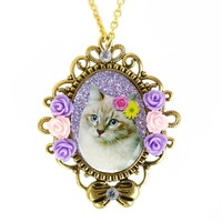 Princess Kitty Necklace - 'The Floral Beauty Kitty'