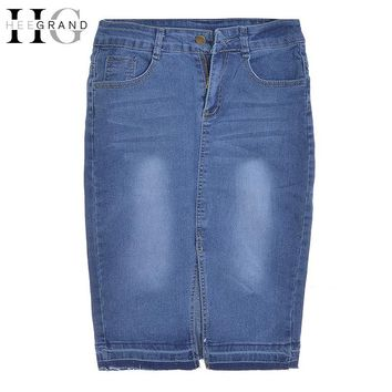 HEE GRAND 2017 New Casual Women Summer Blue Denim Jeans Skirts Girls Short  Pencil Skirts Femininas High Waist Split WQC523
