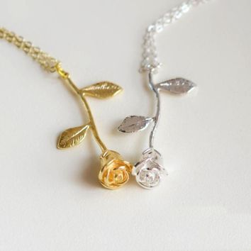 Delicate rose pendant necklace