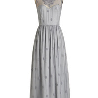 Vintage Inspired Long Sleeveless Maxi Ethereal Girl Dress in Fog