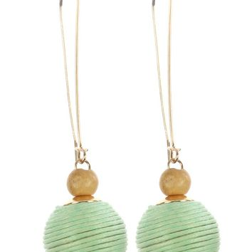 Mint Green Color Cord Wrapped Chunky Ball Dangle Earring