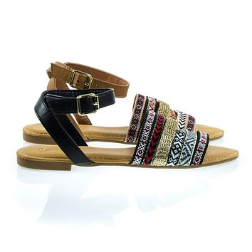 Grayson32S By Bamboo, Multi Colored Tribal Flat Sandal w Ankle Strap