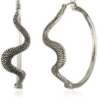 "Lucky Brand ""Wild Things"" Silver-Tone Textured Snake Hoop Earrings"