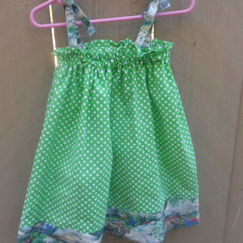 Green Polka dot toddler sundress, size 2t-3t