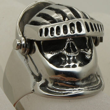 cool skull crusader cross movable helmet medieval holy war stainless steel ring