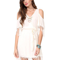 White V-neck Shoulder Cut-Out Fringed Chiffon Mini Dress