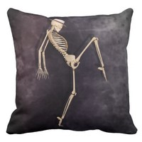 Cool dancing Skeleton - Grade A - Purple Throw Pillow