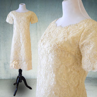 1960s Short Sheath Wedding Dress Marshall Fields Alencon Lace