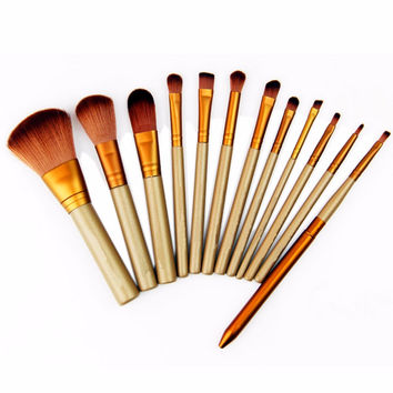 12 Pcs Beauty Essential Makeup Brushes Set Maquiagem Cosmetic Make Up Set Eyeshadow Accessories Tools Kit Fashion Style