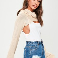Missguided - Nude Cropped Roll Neck Sweater