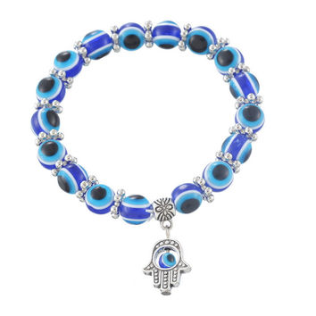 Hot sell 1PC Hamsa Fatima Hand  Evil charm magic captivate allure Eyes Bracelet Handmade Beads Bracelet