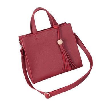 Women's Stylish Soft Leather Handbag with Wooden Ball Tassel Classic Single Shoulder Bag Large Capacity Boston Bag