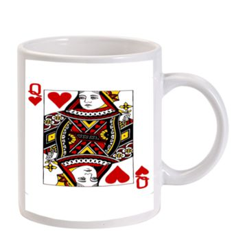 Gift Mugs | Card Queen Of Hearts Ceramic Coffee Mugs
