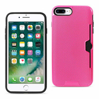 REIKO IPHONE 7 PLUS SLIM MESH SURFACE ARMOR HYBRID CASE WITH CARD HOLDER IN HOT PINK