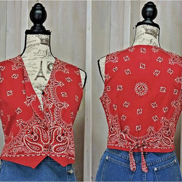 Womens Western summer top / size S / boho / bandana / country festival
