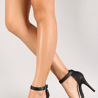 Anne Michelle Enzo-01N Ankle Strap Open Toe Heel