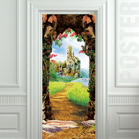"Door STICKER castle cave cavern grotto mural decole film self-adhesive poster 30""x79""(77x200 cm)"