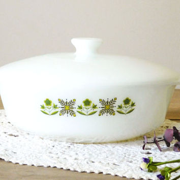 Fire King Ovenware 437 Milk Glass Casserole Dish