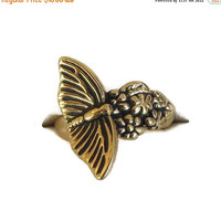 Butterfly and Flowers Ring Vintage Size 5.75