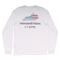 Custom Kentucky State Whale Long Sleeve Tee Shirt in White by Vineyard Vines