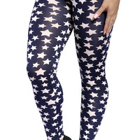 BadAssLeggings Women's Five Point Stars Leggings Size Medium Black