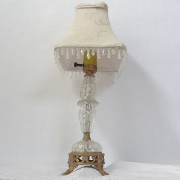 Vintage table lamp shabby chic decor light fixture, lighting
