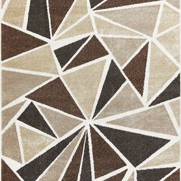 2961 Ivory Geometric Abstract Contemporary Area Rugs
