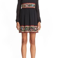 RED Valentino Embroidered Stretch Silk Dress | Nordstrom