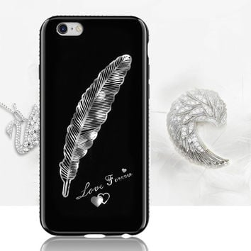 For iPhone 7 Case 3D Flower Feather TPU Black Phone Cases Cover for iPhone 7 Plus Silicone Bling Feather SunFlower Coque Capa -0405