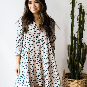 Dotted Ruffle Collar Dress