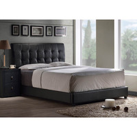 Hillsdale Lusso Upholstered Platform Bed w/ Rails in Black Faux Leather