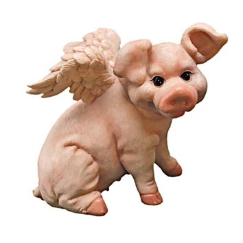 SheilaShrubs.com: Hog Heaven Flying Pigs Statue Collection - Sitting QL57201 by Design Toscano: Garden Sculptures & Statues