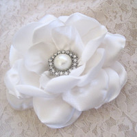 Ivory Satin Bridal Wedding Flower Hair Clip with Gorgeous Pearl and Rhinestone Brooch Accent Bride Mother of the Bride Bridesmaids Prom