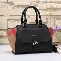 Burberry Women Shopping Leather Tote Handbag Shoulder Bag Black