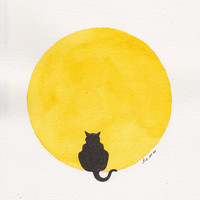 Halloween Decor . Golden Moon . Black Cat . Small Art Wall Decor . Original Watercolor Painting . 5 x 7