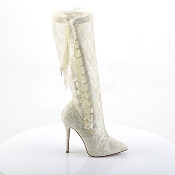 "Amuse 2012 Ivory White Lace 5"" Heels Pointy Toe Knee Boots"