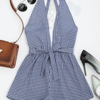 Cut Out Backless Tassels Checked Romper