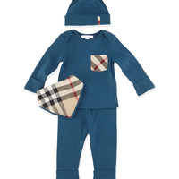 Olly 4-Piece Cotton Gift Set, Dark Mineral Blue, Size 3M-3Y,