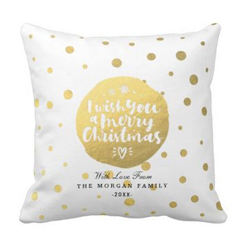 White & Gold Polka Dots Merry Christmas Typography Throw Pillow