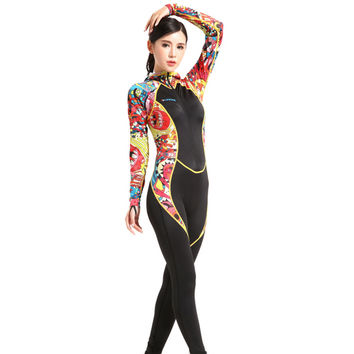 S002 S020 Hooded CP One-piece Diving Suit Surfing Wetsuit   woman   XS