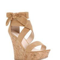 Sale-natural Cross Strap Bow Cork Wedge
