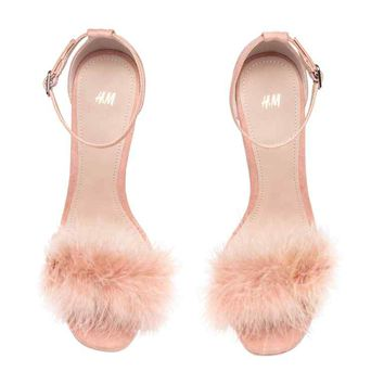 Sandals with feathers - Black - Ladies   H&M GB
