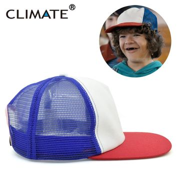 CLIMATE Dustin Stranger Things Dustin Cap Hat 100%Copy Cosplay Coser Dustin Summer Snapback Mesh Net Trucker Hat Cap For Boy Men