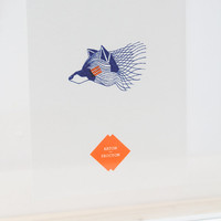 Poster blue white neon orange hand screen print - animal Racoon