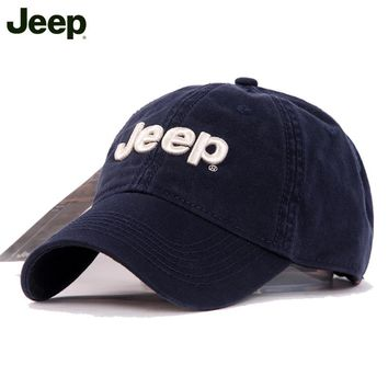 Unisex Cotton Solid Color Text Curved Brim Baseball Cap Gray Jeep Hat [2974244216]