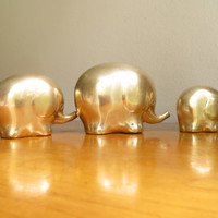 Vintage Brass Elephant Figurines, Elephant Family Statues, Gold Mid Century Modern Elephant Figurines